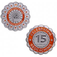 15 Years of Geocaching Geocoin