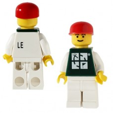 Lego figure white torso, brown tee and white hat