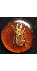 Alchemist's glass geocoin - Amber